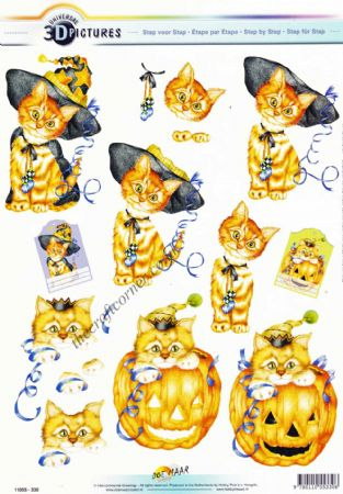 Halloween Cat With A Pumpkin 3d Decoupage Sheet